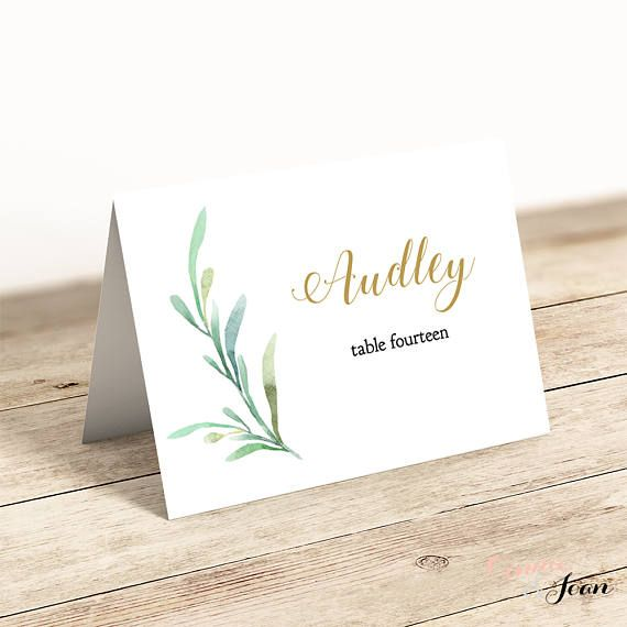 Greenery Wedding Table Place Card Template Flat And Folded With