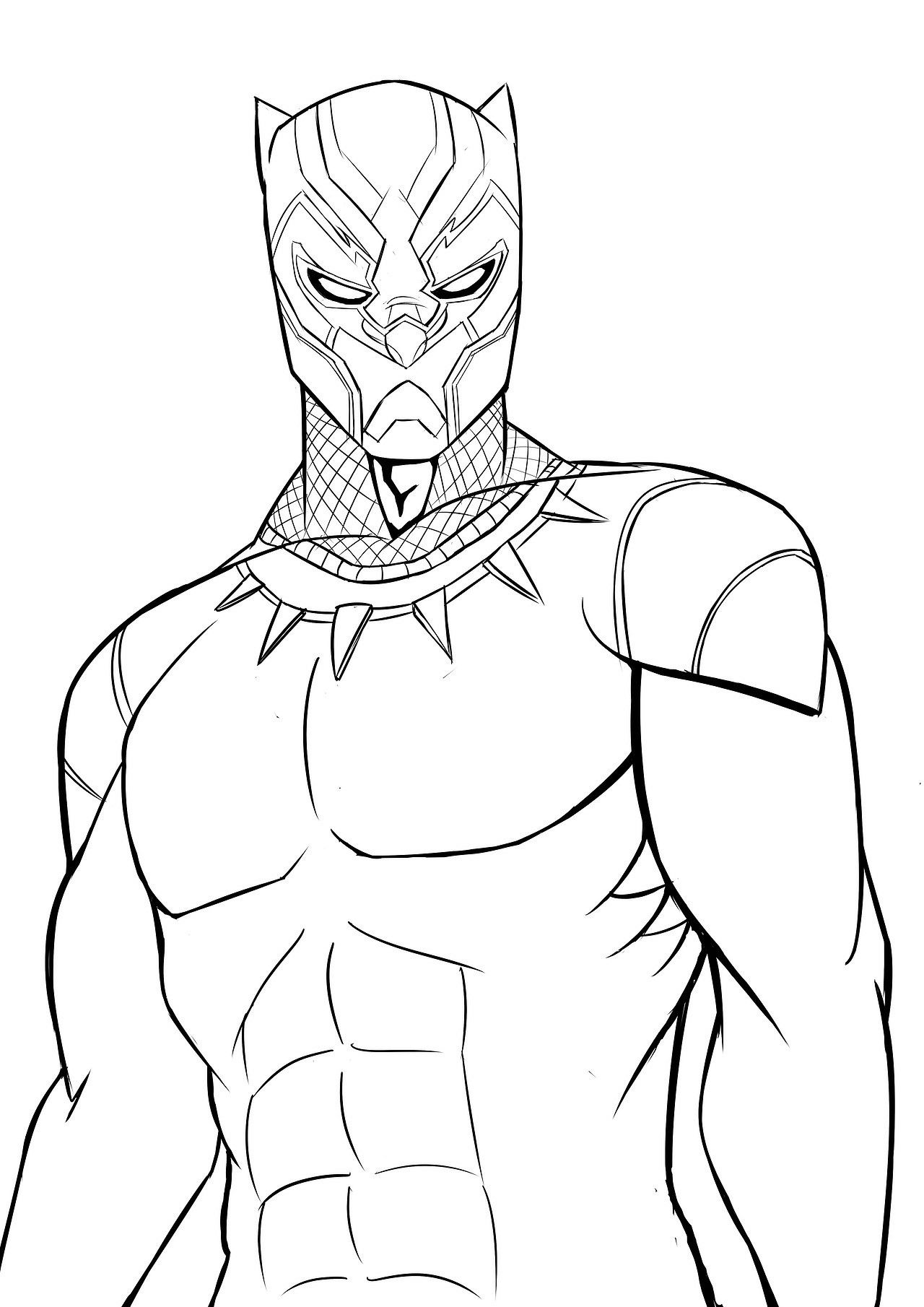 Superhero Thanos Coloring Pages: Black Panther (Black & White Art)