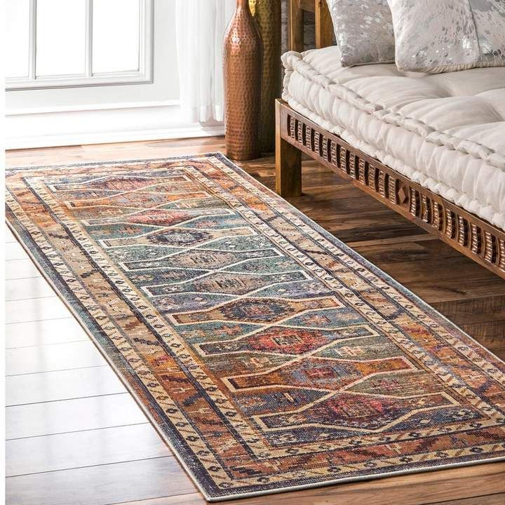 Bungalow Rose Langlois Blue Brown Area Rug In 2020 Orange Area