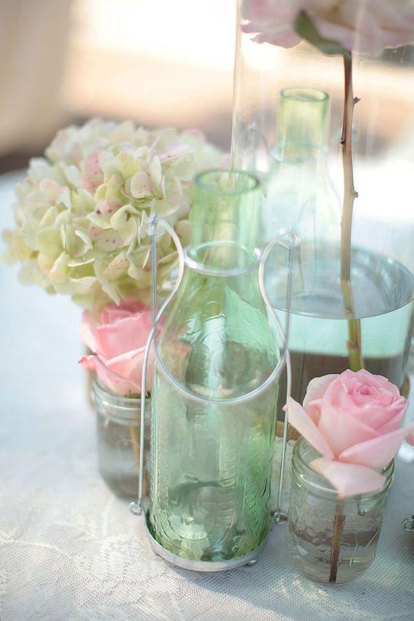 Blomster i flasker..