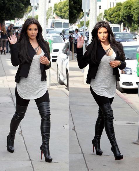 Kim kardashian those thigh high boots | Guilty Pleasures | Pinterest | Moda casual Zapatos y ...