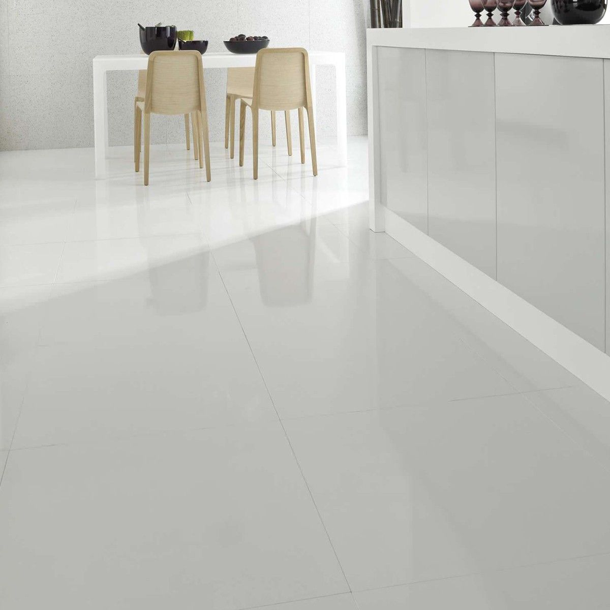 White Tile In Kitchen Floor: 60x60cm Stark White Porcelain - Crown Tiles