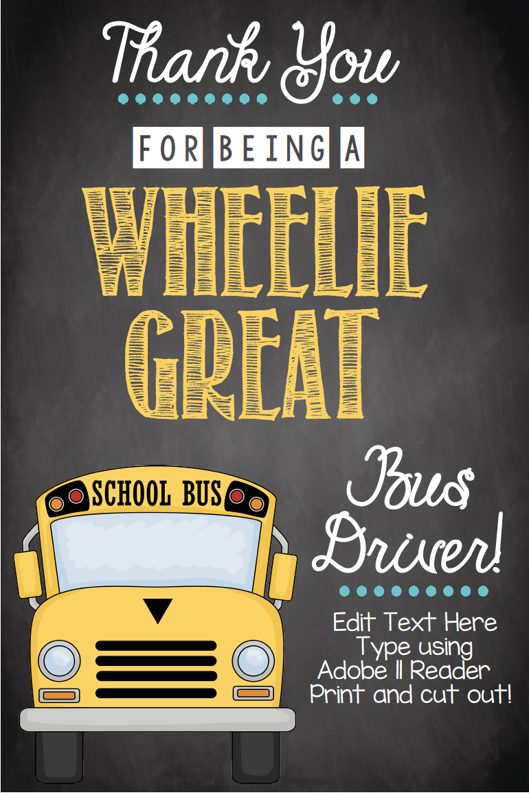 graphic relating to Bus Driver Thank You Card Printable referred to as Bus Driver Card - EDITABLE - Printable Do it yourself Thank On your own Tag