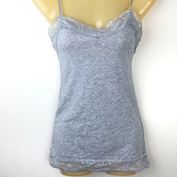 Grey tank with lace extra small Gently used-great condition. Charlotte Russe size extra small gray tank top Cami with lace. No trades. Bundle for discounts. Charlotte Russe Tops Camisoles