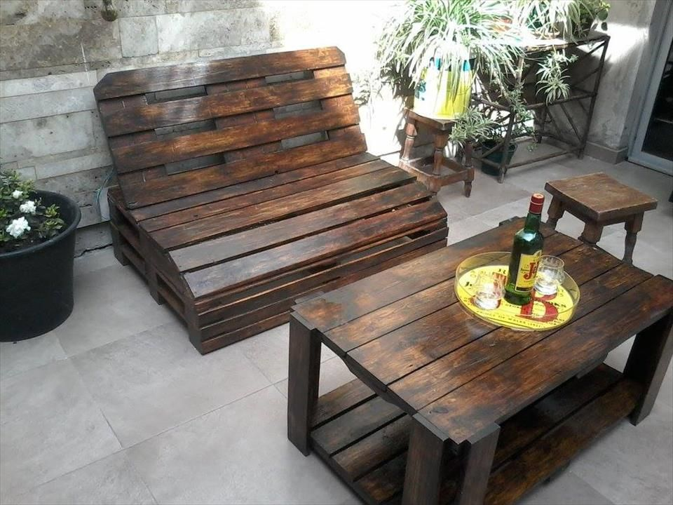 pallet furniture patio. pallet wood outdoor furniture set patio 2