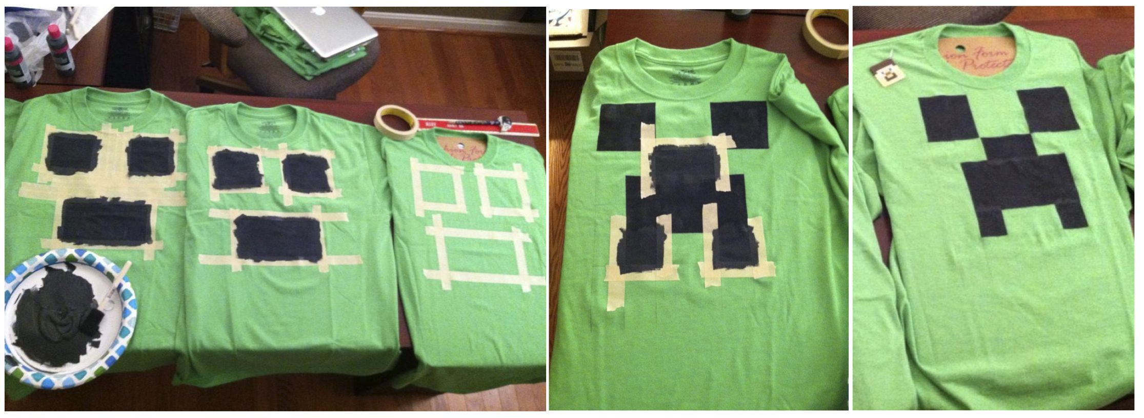 Super Easy Minecraft Creeper T Shirts Made As Party Favors