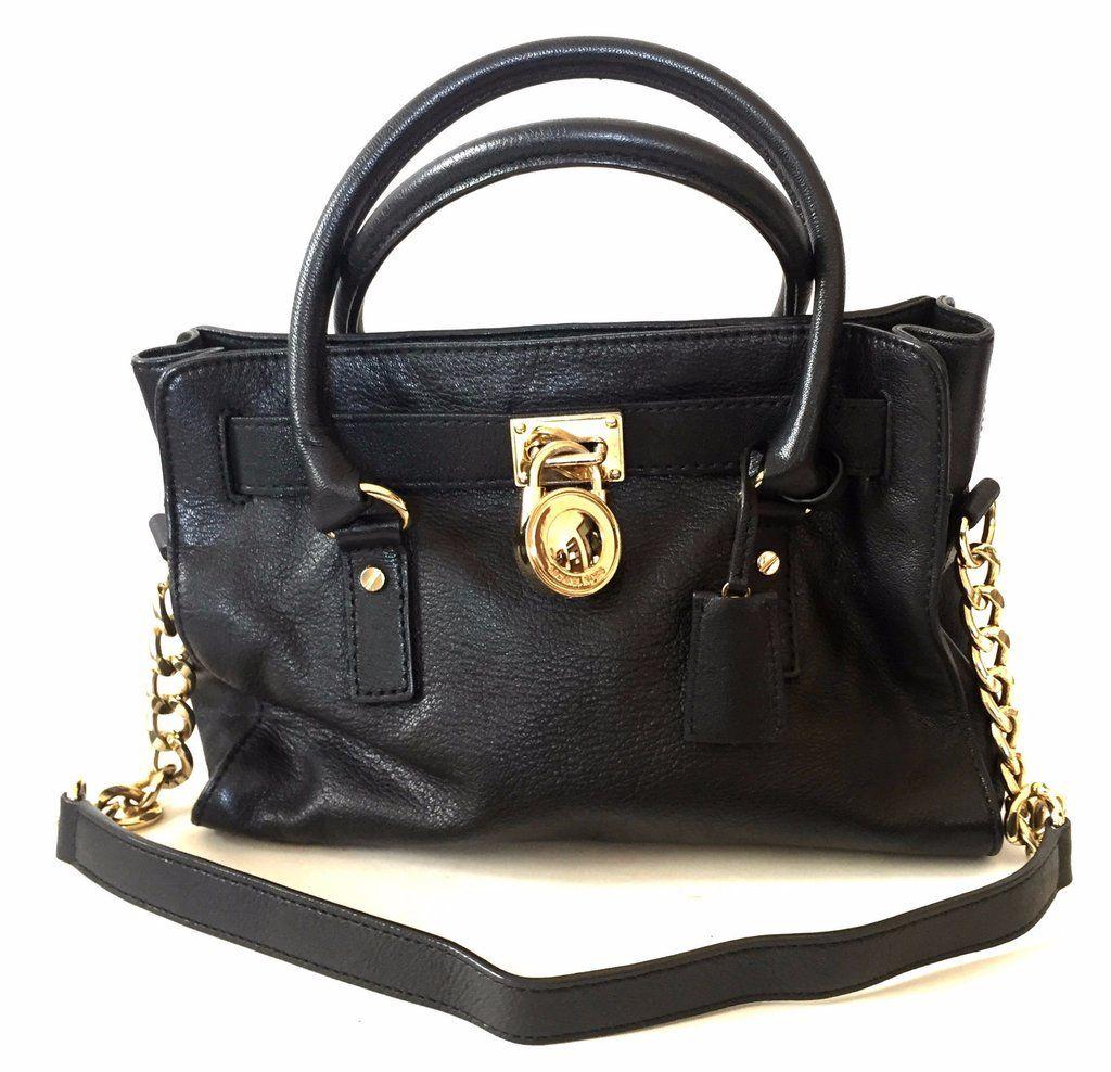 Michael Kors Black Leather  Hamilton  Tote Bag  054edd8c55507