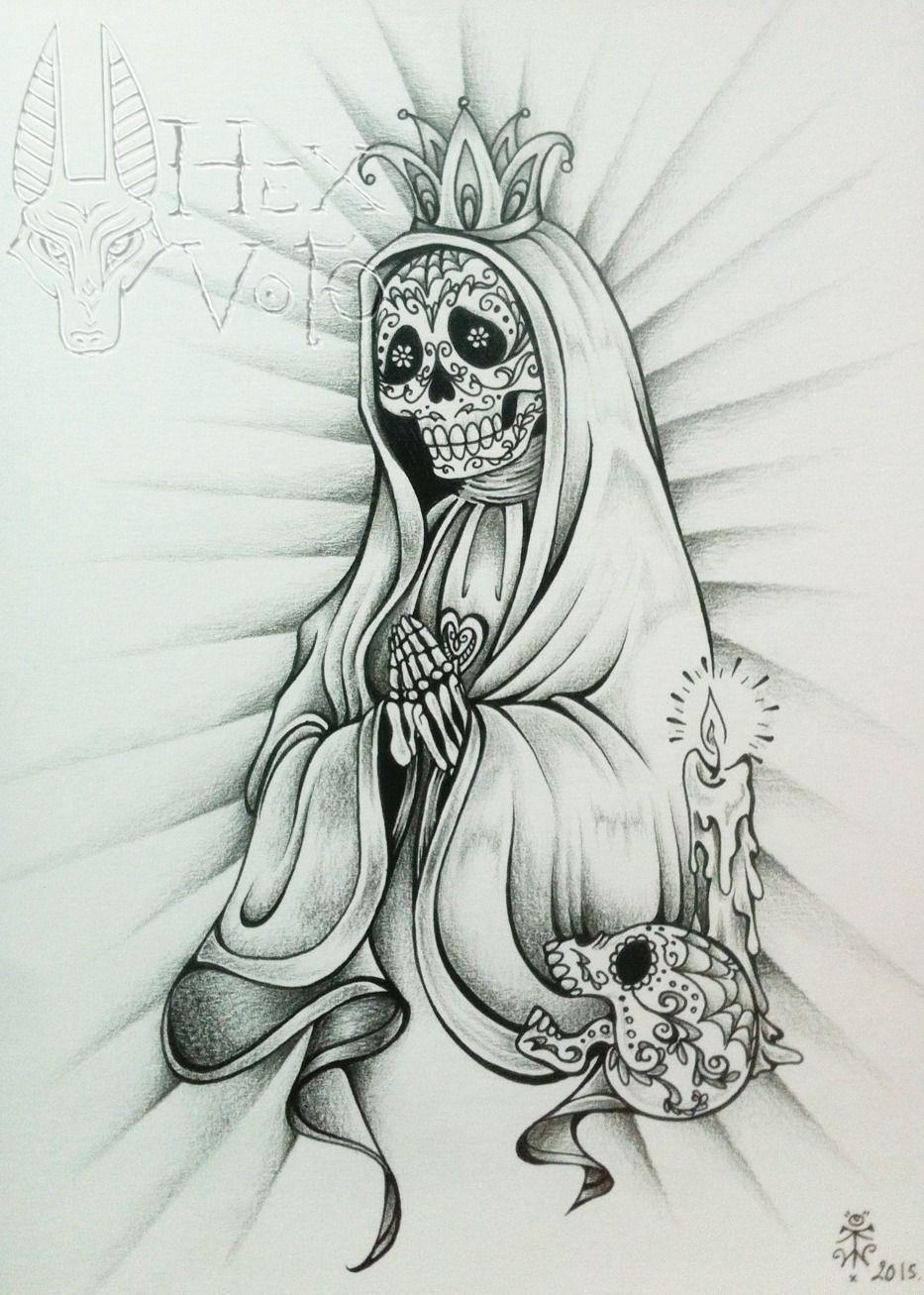 Santa Muerte Dessin Original Dessins Par Hex Voto Mexican