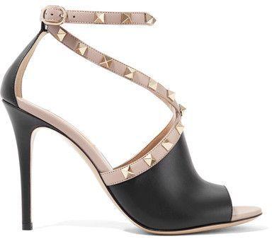 52538a74e6f Valentino Garavani The Rockstud Two-tone Leather Sandals - Black ...