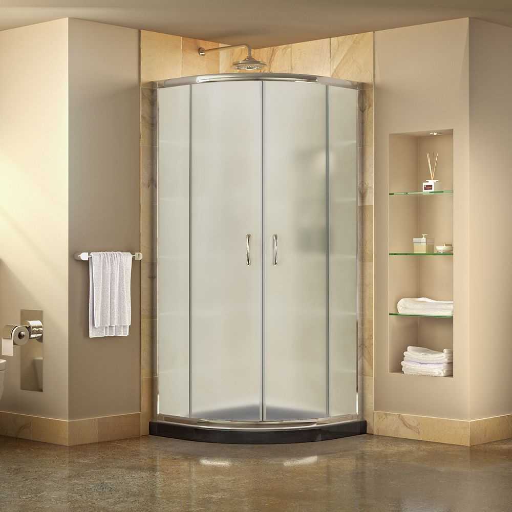 Prime 33 Inch D X 33 Inch W Frosted Framed Shower Enclosure In Chrome Corner Drain Black Base Corner Shower Kits Shower Enclosure Frameless Shower Enclosures