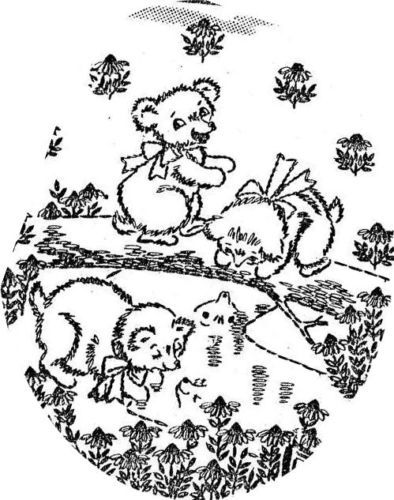 Hand Embroidery PATTERN 6491 Playful Teddy Bear Motifs for a Vintage Baby Quilt