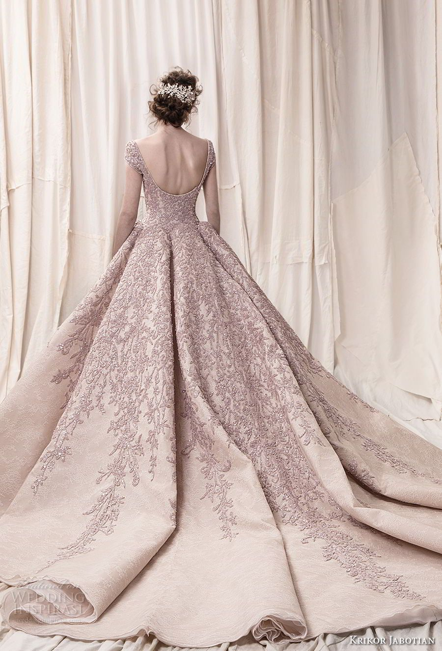1683567795440 krikor jabotian spring 2018 bridal cap sleeves scoop neckline heavily  embeliished blush color glamorous princess ball gown a line wedding dress  open scoop ...
