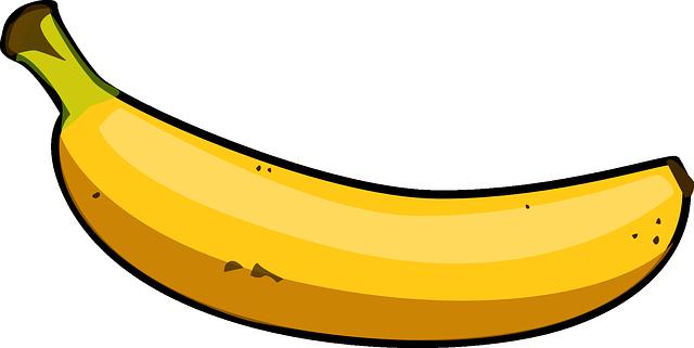 Banano amarillo, frutas tropicales.