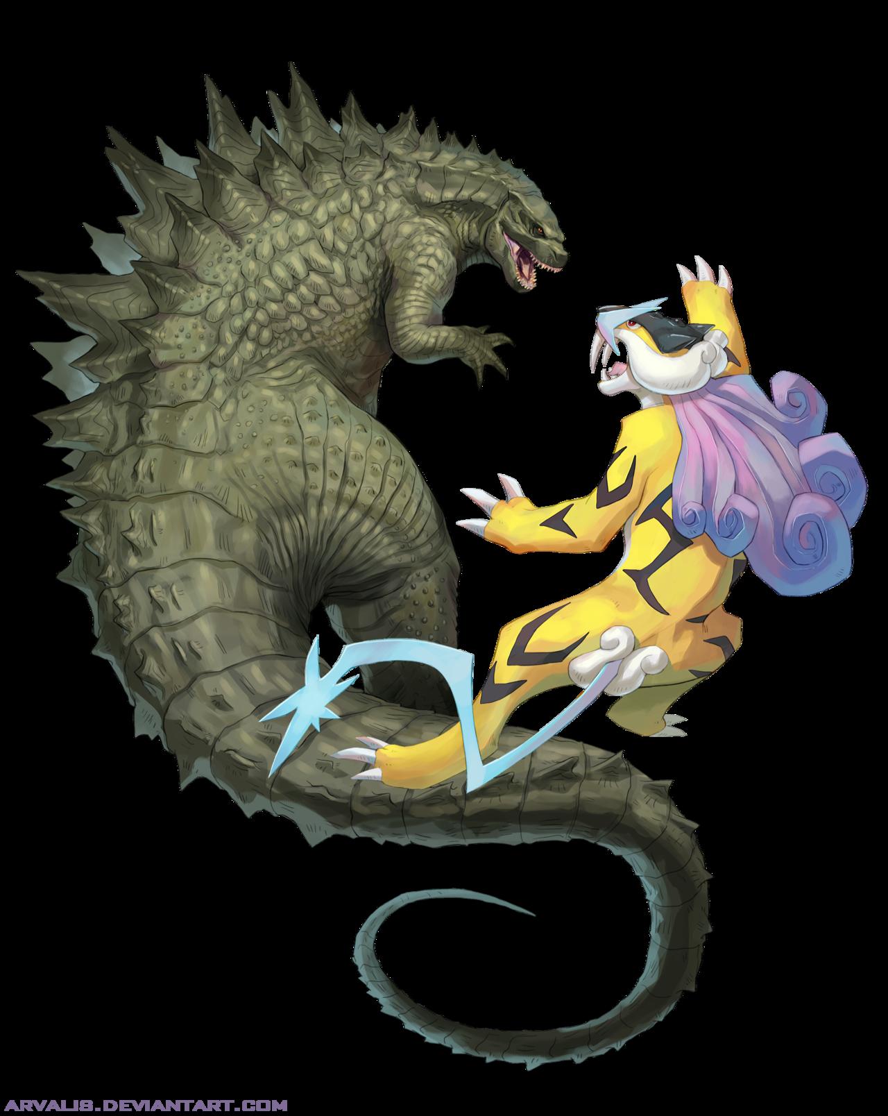 Godzilla vs. Raikou by arvalis.deviantart.com on @DeviantArt