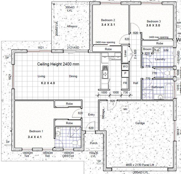 3 Bedroom House Floor Plans: Small House Plans 3 Bed + 2 Bath + Double Garage