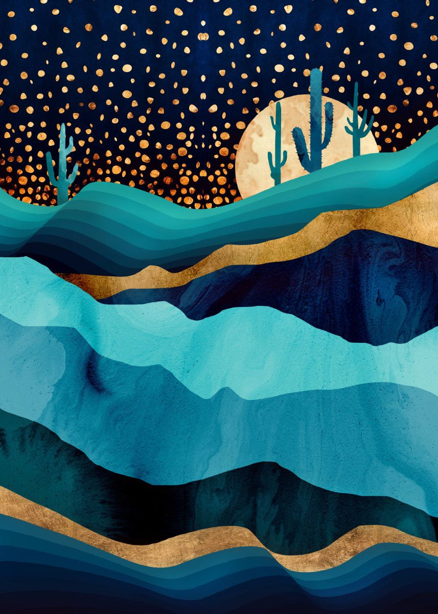 Indigo Desert Night Nature Poster Print | metal posters - Displate | Displate thumbnail