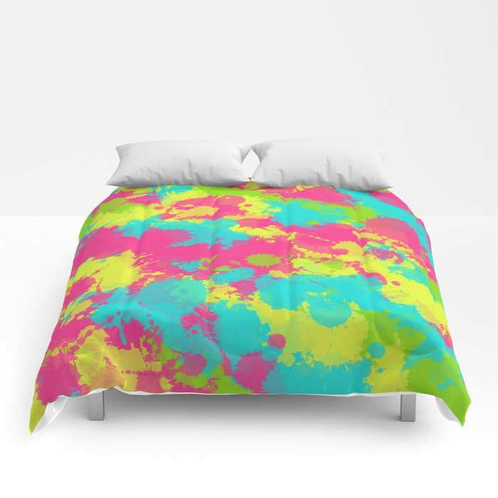 90s Baby Paint Splatter Comforter By Bigtexfunkadelic Available At Society6 In A Variety Of Sizes Bedding S6 P In 2020 Comforters Baby Painting Dorm Decorations