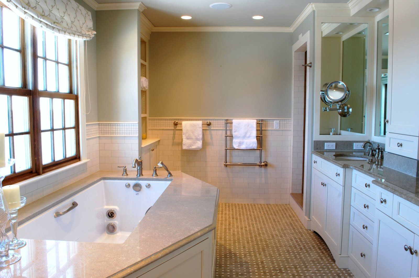 Beautiful bathroom by theresa meyer of the stamford wife - Best paint color for crema marfil bathroom ...