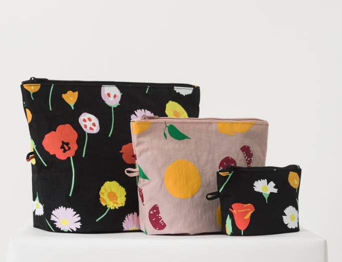 Expandable Nylon Zip Pouch 3 Pack for Travel and Organization Flora BAGGU Go Pouch Set