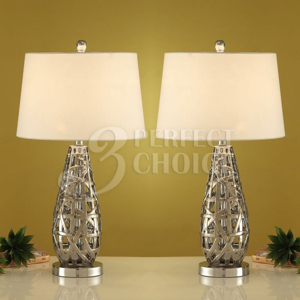 Set of 2 Table Lamps Lighting Tear Drop Shaped Abstract Metal Base ...