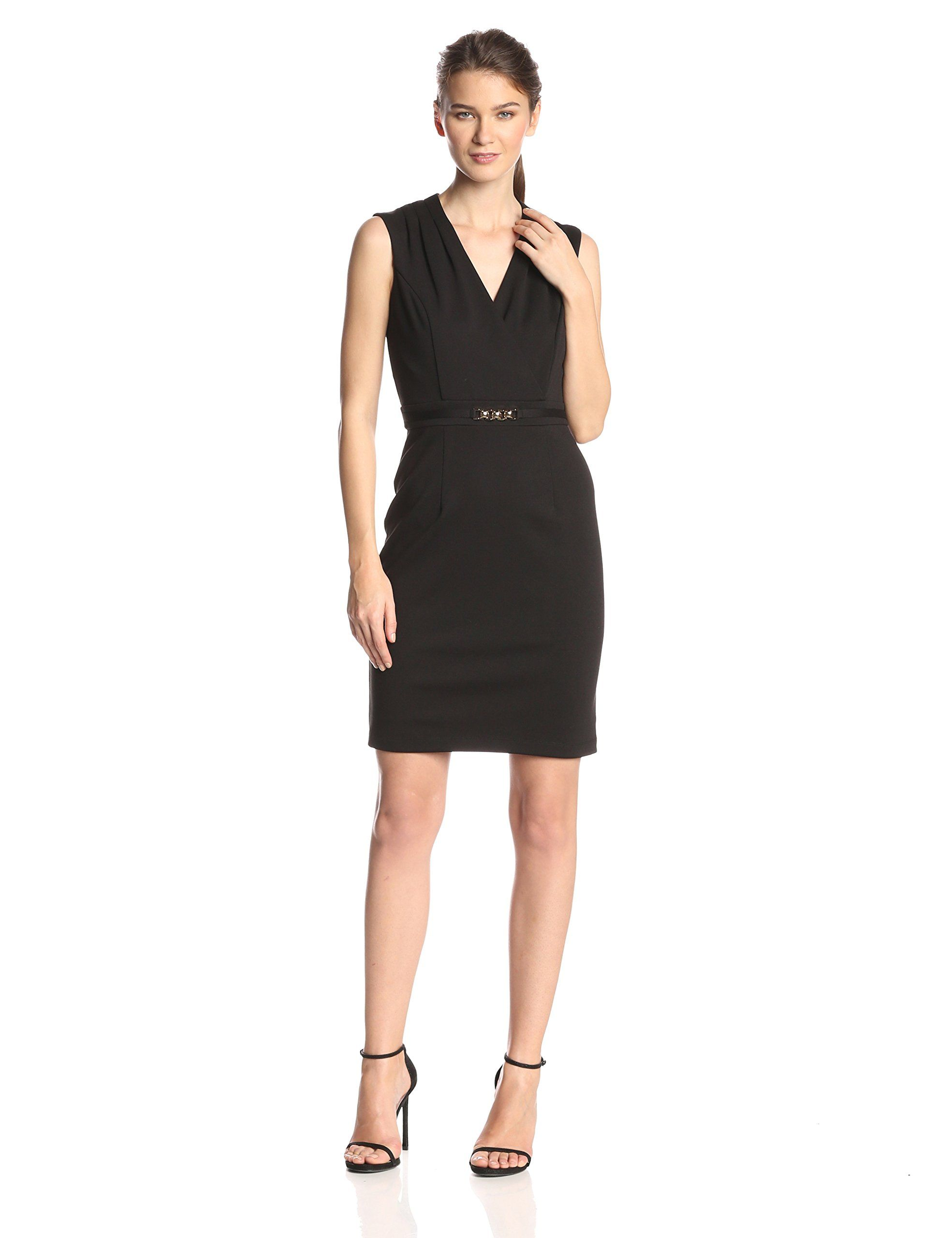 ellen tracy women's sleeveless v-neck sheath dress, black, 2