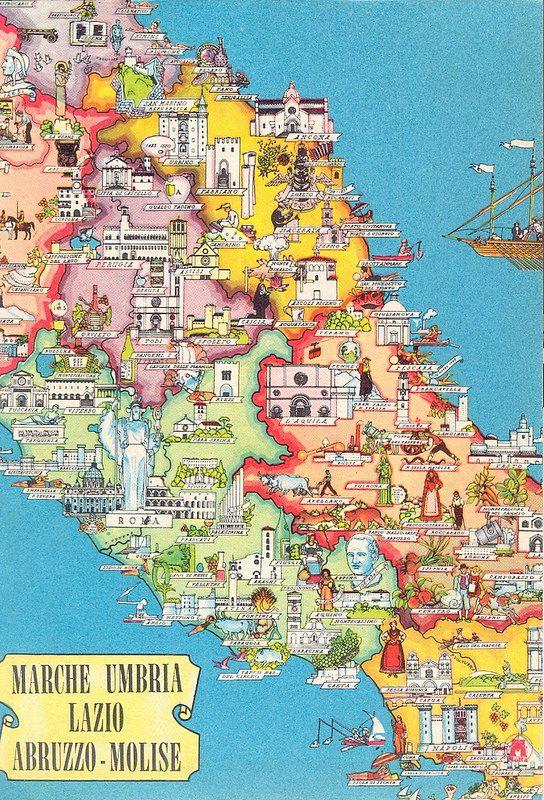 Vintage Map Of Central Italy Italien Bilder Apulien Und Italien