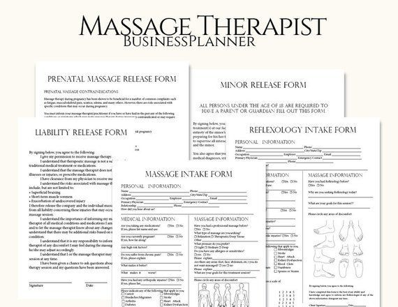 Massage Therapist Business Planner, Massage Business, Massage - liability release form