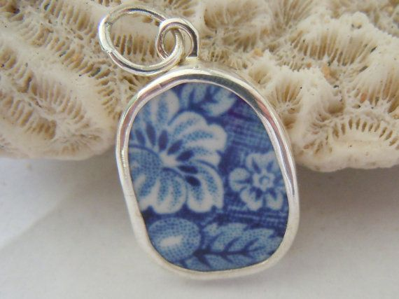 Broken China Necklace Pendant  Chaney Sterling by MaroonedJewelry, $25.00