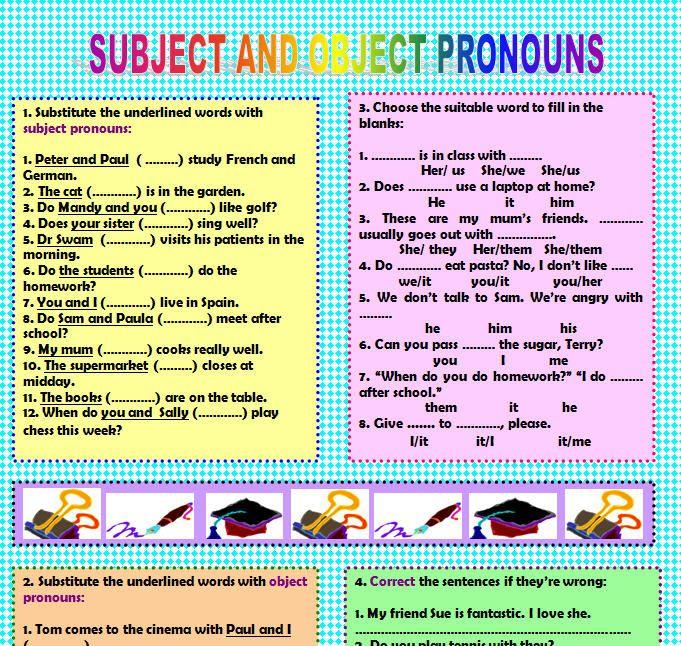 Subject Object Pronouns Object Pronouns Pronoun Worksheets Subject Object Subject object pronoun worksheets