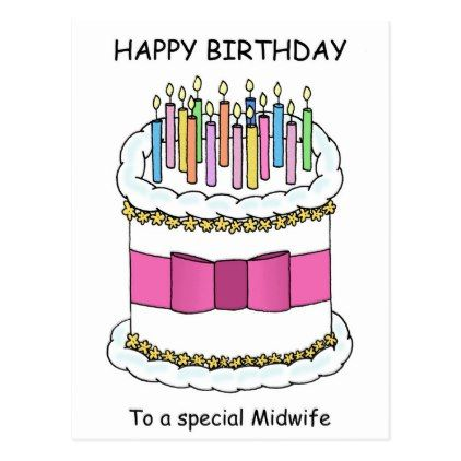 Midwife Happy Birthday Cartoon Cake and Candles. Postcard | Zazzle ...