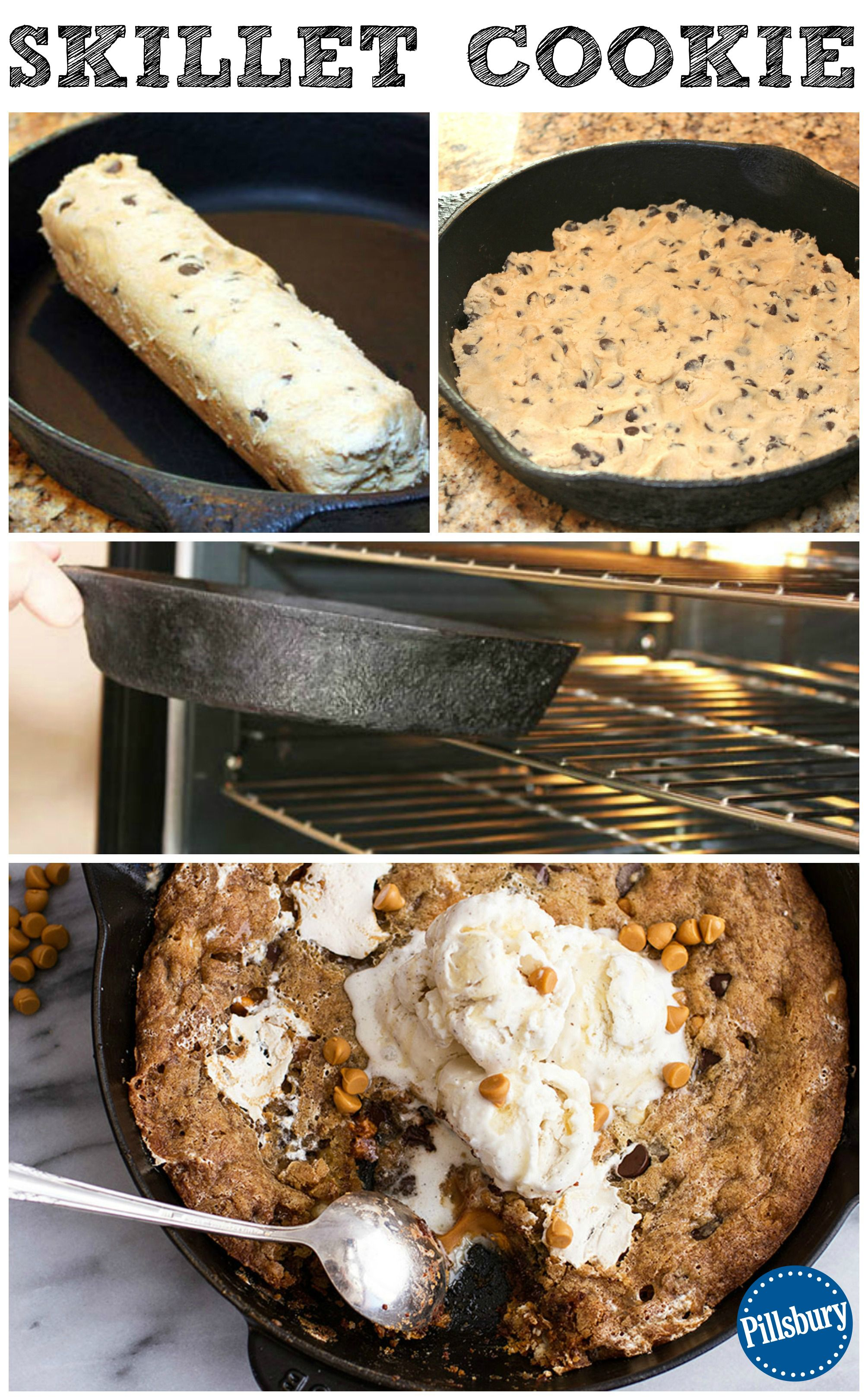 Chocolate Chip Skillet Cookie How-To Learn how to create your own Skillet Cookie! Hot from the oven in just 5 minutes, score a dessert hit with this easy wow.