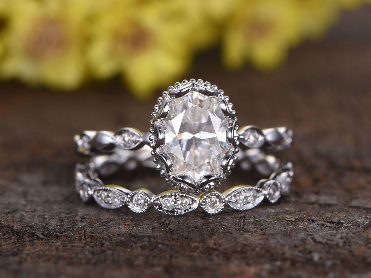 1.5 Carat Oval Moissanite Wedding Ring Sets Diamond Full