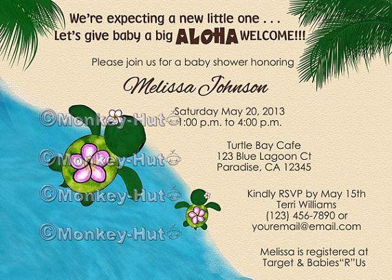 Turtle Baby Shower Invitations HONU Sea Turtles Beach Luau Girls Boys Mommy  Daddy Family Twins Siblings Personalized DIGITAL INVITATION #078