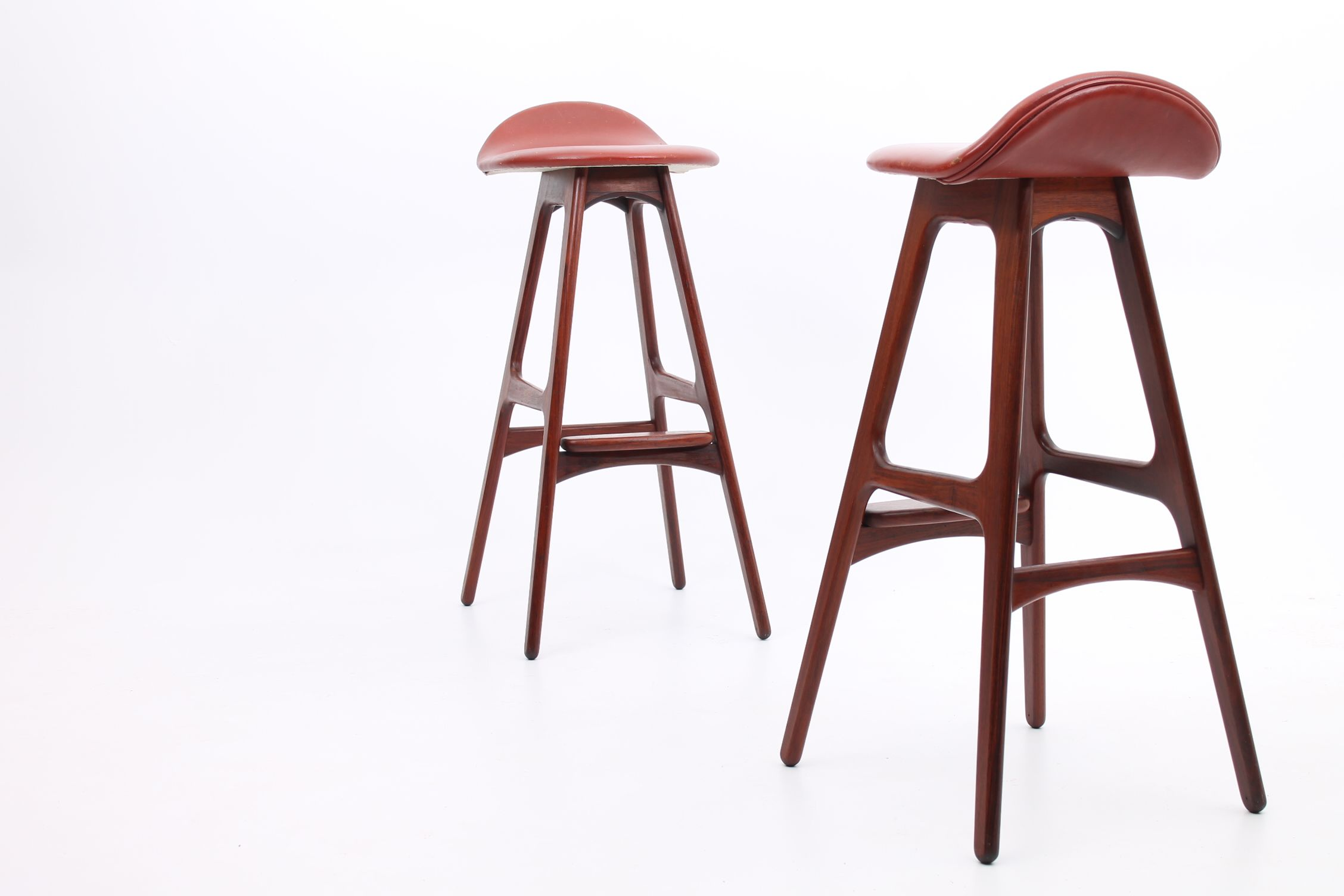 Pair Of Barstools Model Od61 In Rosewood And Original Red Leather Designed By Erik Buch And Manufactured In 1965 An Bar Stools Stool Danish Furniture Design