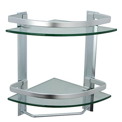 Special Offers   KES Bathroom 2 Tier Corner Glass Shelf With Wide Rail And  Towel