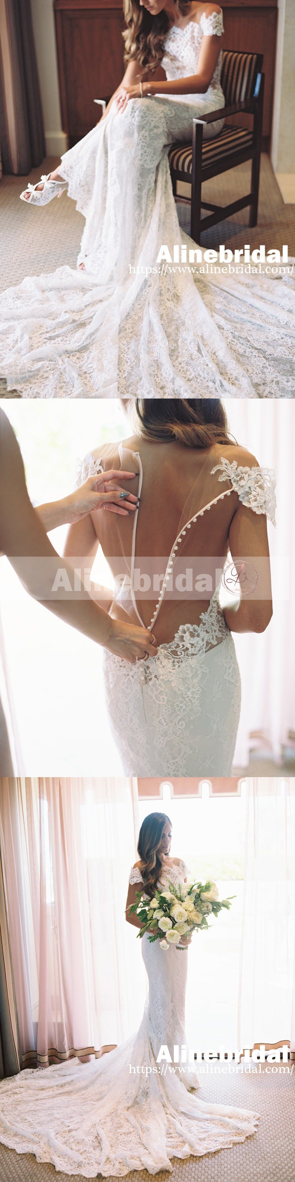 Vintage off shoulder see through illusion back mermaid wedding