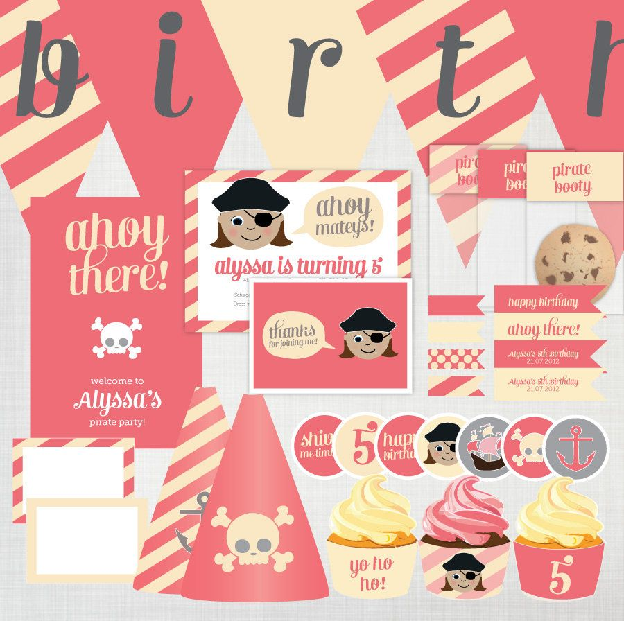 DIY Girls Pirate Party Invitation and Decoration Pack : more than 30 ...