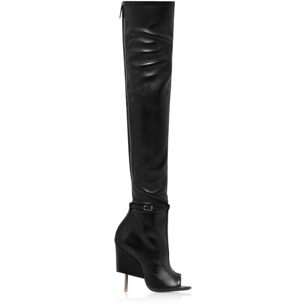 Givenchy Narlia thigh boots in black leather (€2.840) ❤ liked on Polyvore featuring shoes, boots, givenchy, black, black high heel boots, over-the-knee high-heel boots, high heel stilettos, over the knee high heel boots and black stilettos