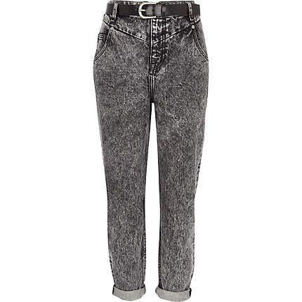 Black acid wash slim Mom jeans - boyfriend / slouch jeans - jeans - women http://www.riverisland.com/women/jeans/boyfriend--slouch-jeans/Black-acid-wash-slim-Mom-jeans-648607