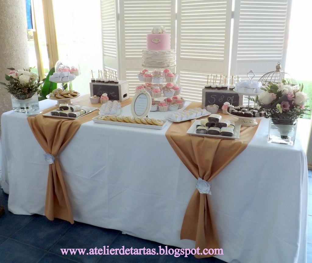 Mesa dulce nupcial golden vintage mesas dulces y for Decoracion mesa dulce