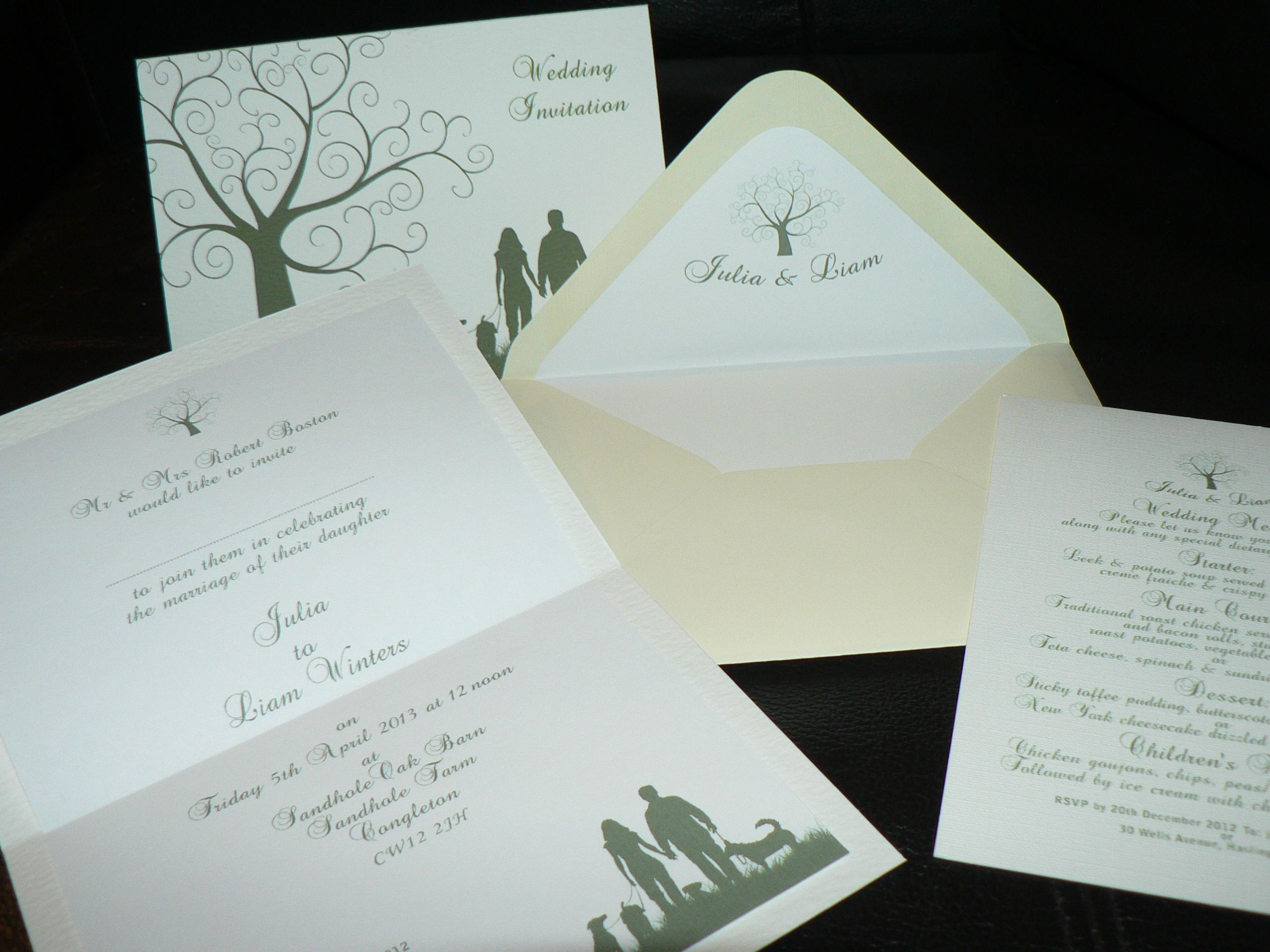 Themed Wedding Invitations. Walking the dogs in the woods. (Also the ...