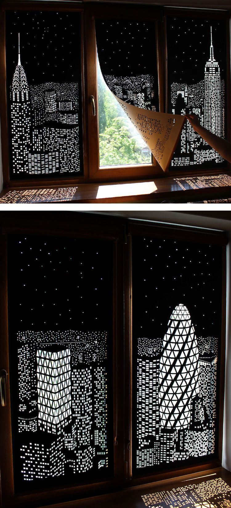 Decor door and window  modern blackout curtains turn windows into penthouse views of a city