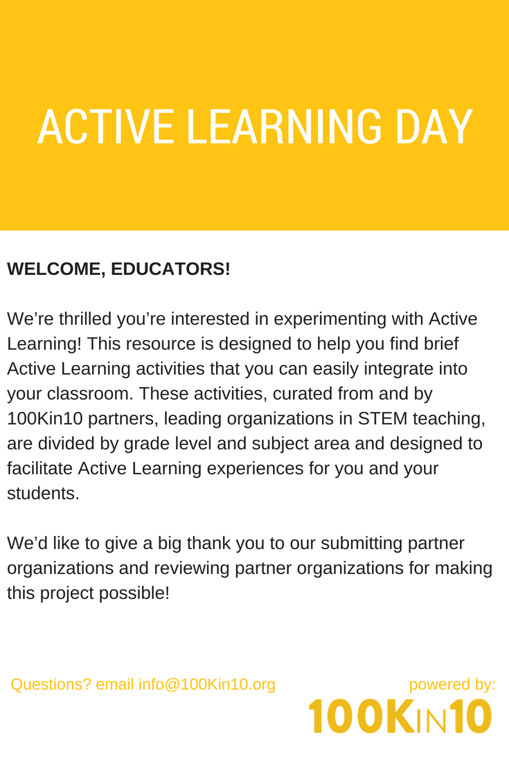 A Repository Of Active Learning Activities For Stem Classrooms Pk