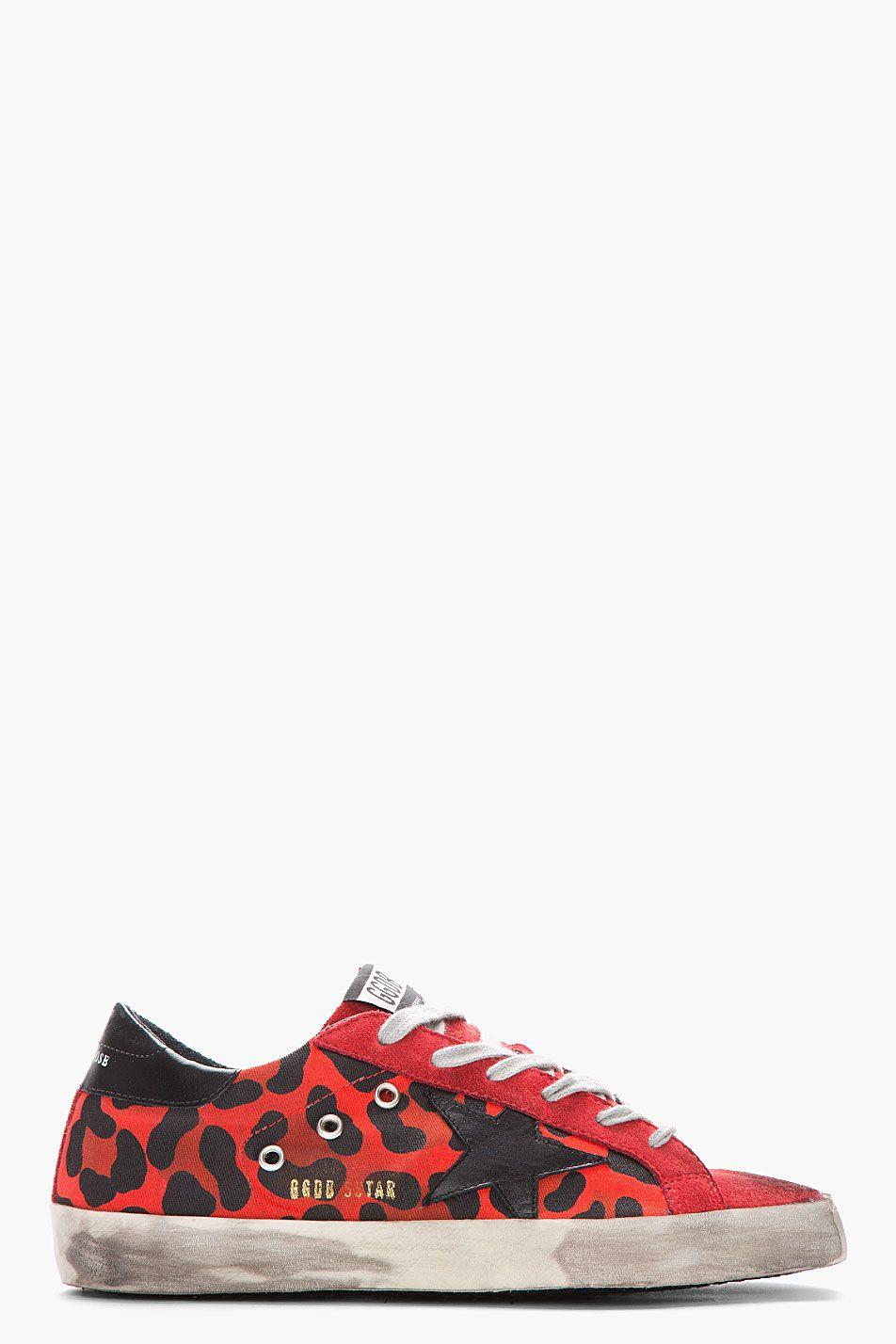 GOLDEN GOOSE Red Leopard Print Suede Superstar Sneakers