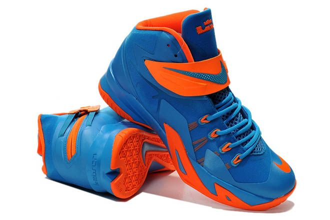 nike shoes lebron soldier 8 orange and blue