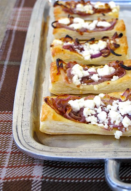 Goat Cheese & Caramelized Onion Tarts on Puff Pastry