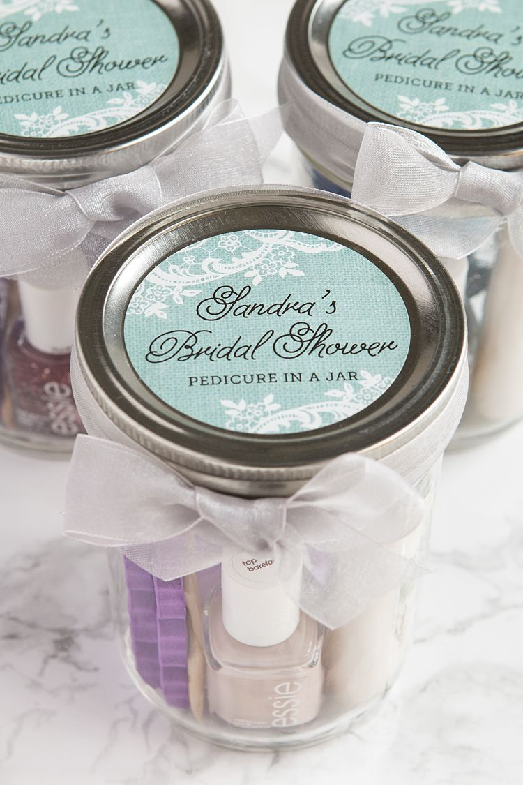 best bridal shower gifts for guests%0A Pedicure in a Jar Bridal Shower Favors