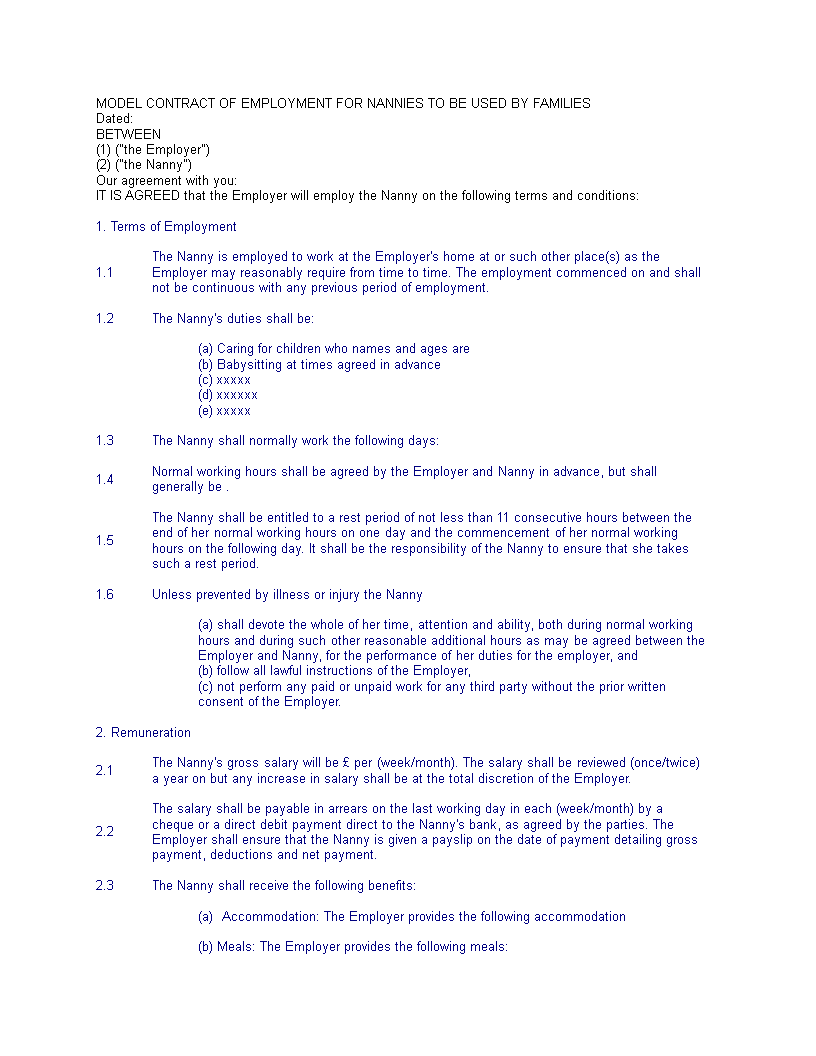 Child Care Worker Agreement Template  Child Care Worker Contract