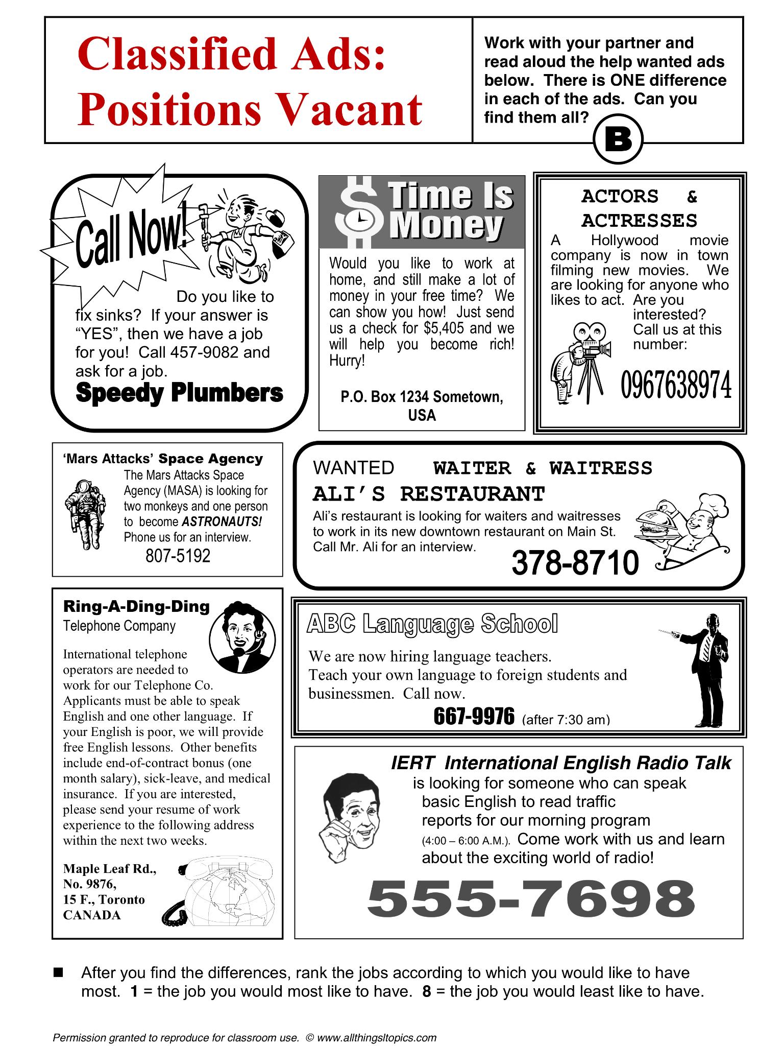 Jobs And Work Vocabulary Esl English Phrases