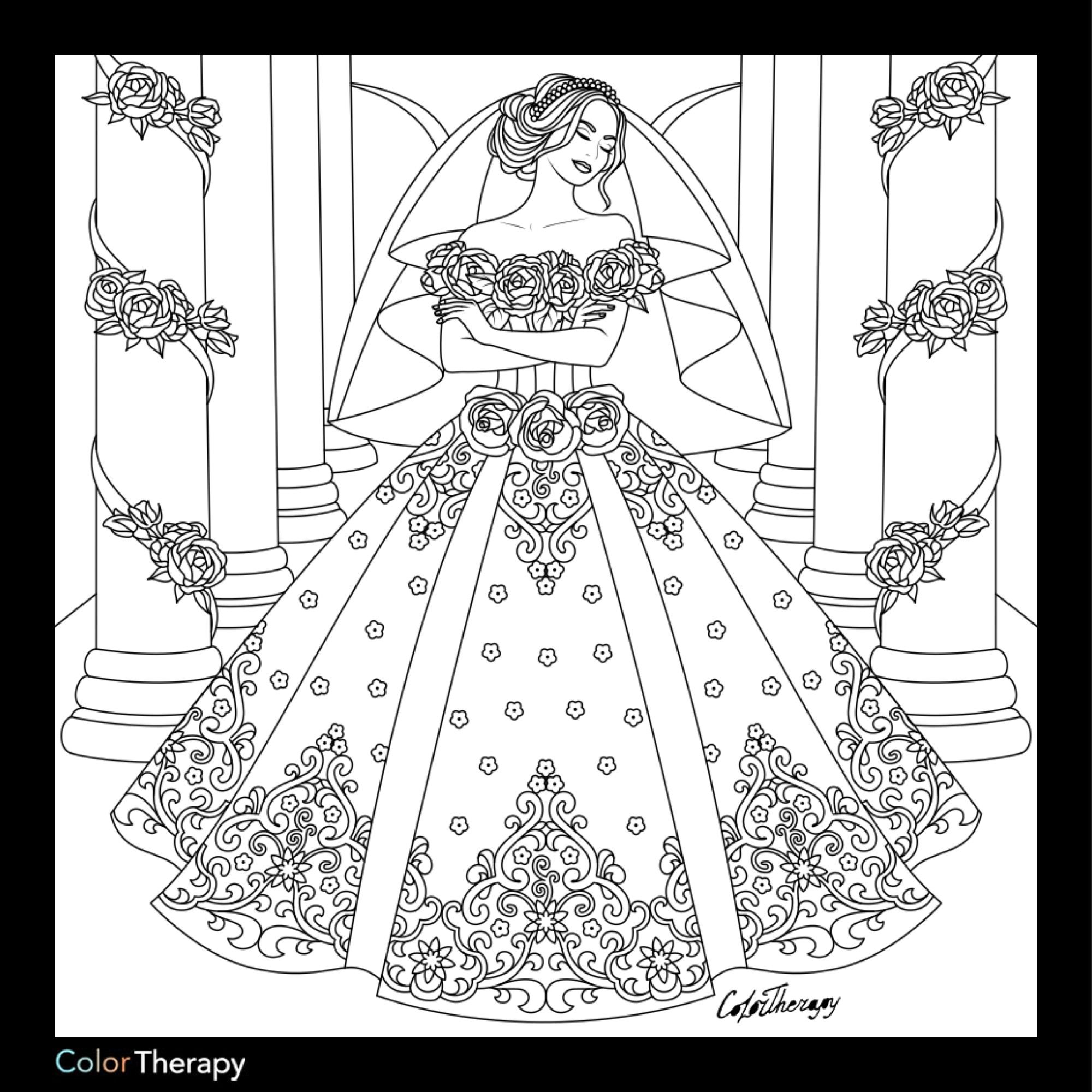 Cream Wedding Dresses | Wedding coloring pages, Coloring ...